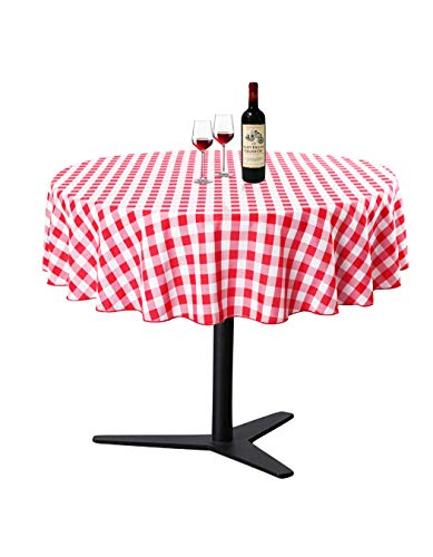 Waysle Round Tablecloth - R70 Inch - Red and White Checker Table Cloth for Circular Tables in Washable Polyester - Great for Wedding | Restaurant | Party | Banquet Decoration