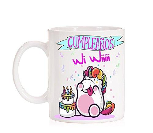 MardeTé Taza Feliz Cumpleaños Wi Wiii. Taza Divertida de cumpleaños con Unicornio. Ideal para Regalo