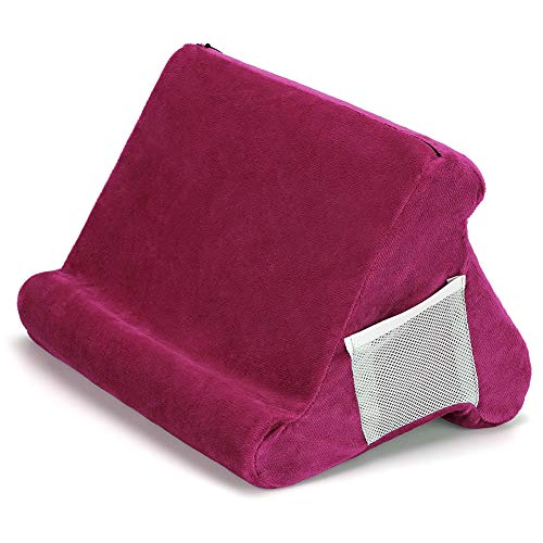 ZEUSE® Soporte de almohada plegable para tableta, libro, soporte de lectura para hogar, cama, sofá, multiángulo, suave, soporte para tableta, soporte para lectores electrónicos (borgoña)