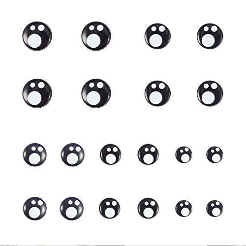 PandaHall 100 stücke 5 Größe Harz Sicherheit Augen Handwerk Augen Schwarz Stofftier Augen mit 100 Stücke Unterlegscheiben für Puppe, Puppe, Plüschtier Machen (8mm / 10mm / 12mm / 14mm / 16mm)