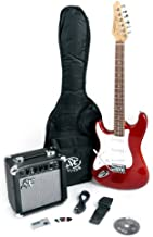 SX RST 3/4 LH CAR Red Left Handed Short Scale Guitar Package with Amp, Carry Bag and On Line Video Lessons