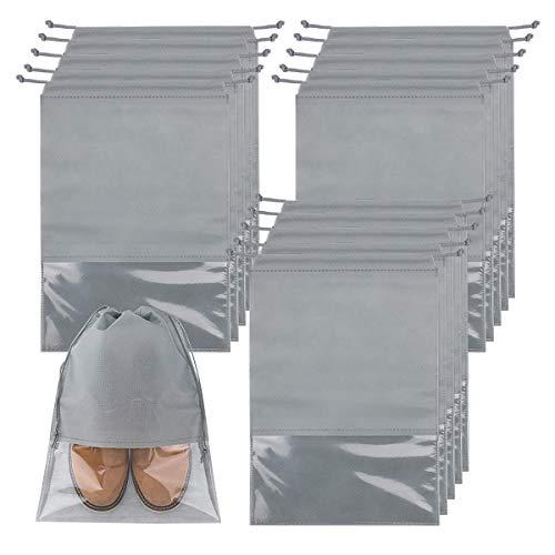 Dsaren 15 Pieza Bolsa Zapatos Viaje Cuerda Bolsa Zapatos Tela Almacenaje Impermeable Prueba de Polvo para Hombres Mujeres Familia Acampar Deportes (Gris)