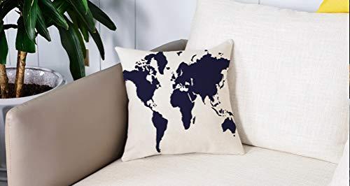 Square Soft and Cozy Pillow Covers,Mapa, Indigo Mapa gráfico en color del mundo Pantalla vívida Tema global internacional Decorati,Funda para Decorar Sofá Dormitorio Decoración Funda de almohada.