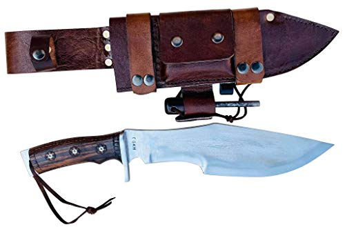 EGKH-11' Blade Handmade chhukuri, Bowie Defender-Xtreme Tactical Team Hunting Outdoor Knife Full Tang with Fire Stick - Western Leather Sheath-Ready to Use