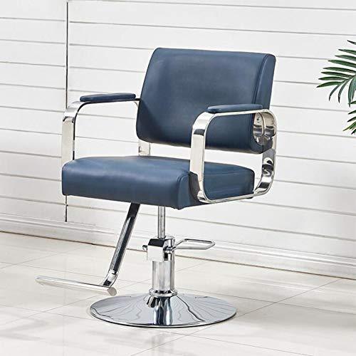 YUXINCAI Sillón De Peluquería Sillón De Barbero De Acero Inoxidable Sillón De Peluquería Sillón De Peluquería Sillón De Belleza,Azul