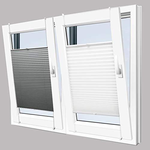 KINLO Plissee Faltrollo ohne Bohren mit Klemmträger 45x130cm Weiß Blickdicht Sonnenschutz Sonnenschutzrollo Fensterrollo Jalousie für Fenster & Tür