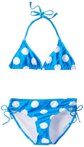 Kanu Surf Girls' Big Alexa Beach Sport 2-Piece Bikini Swimsuit, Beachball Blue Dot, 14