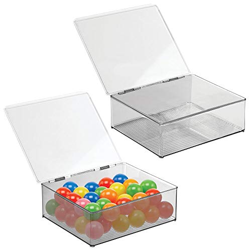 mDesign Plastic Stacking Organizer Toy Box with Attached Lid for Storage of Action Figures, Crayons, Markers, Building Blocks, Puzzles, Craft or School Supplies, 2 Pack - Clear/Smoke Gray