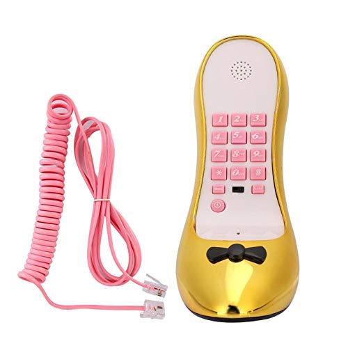 ASHATA Teléfono con Cable, teléfono de Moda con Zapatos de tacón Alto Teléfono Fijo de Escritorio Electroplate Gold, teléfono Fijo de casa Teléfono Elegante con electrochapa(Oro)