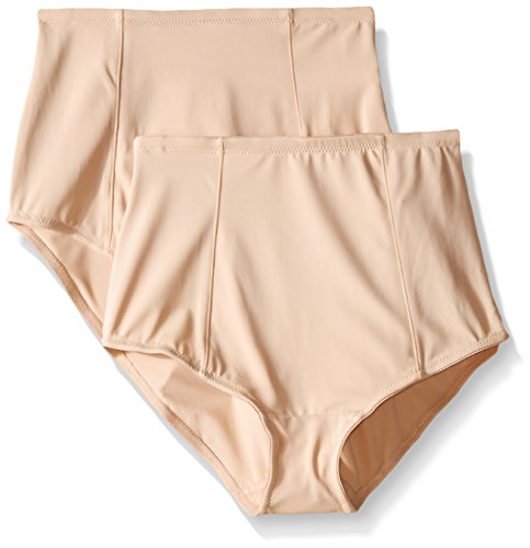 Ellen Tracy Women's Classic Comfort Brief with Extra Tummy Hold, Sun Beige, Large (Pack of 2)