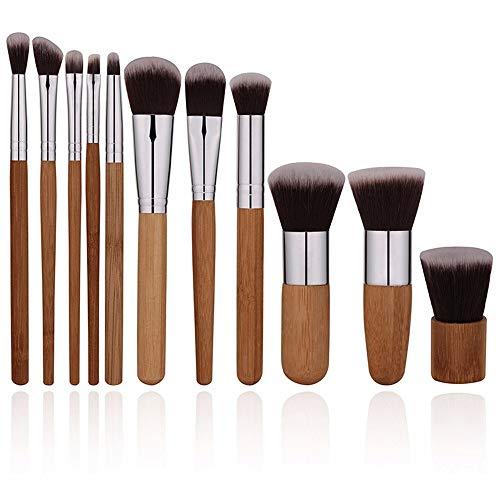 L.L.QYL Brosses 11 Pieces Naturel Bambou Maquillage Pinceaux Set Vegan Pro Cosmétiques Kabuki Pinceau Maquillage Pinceau Maquillage Pinceau Maquillage pour Les Femmes