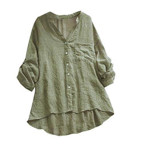 Tops Bluse Damen Oberteile Xjp Frauen Einfarbig Lässige Sexy V-Ausschnitt Shirt Mit Tasche Knöpfen Vintage Elegant Langarmshirt Tunika Hemd(L, Grün)