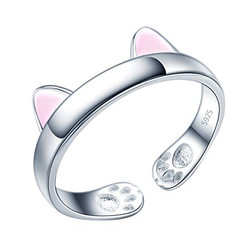 Yumilok Anillo de plata 925, anillo ajustable para mujer y niña, anillo de compromiso abierto, lindo anillo de gato, tamaño ajustable