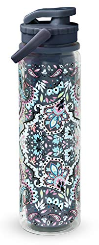 Vera Bradley Double Wall Insulated Sport Water Bottle, 23 Ounce Travel Water Jug with Lid and Carrying Strap, Bonbon Medallion