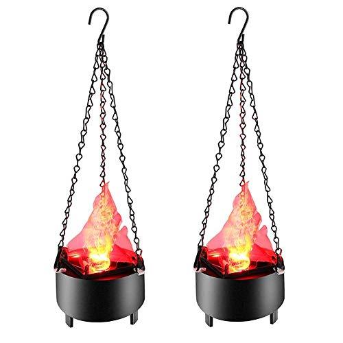 YQGOO Iluminación de Llama de Fuego 3D simulada Lámpara de brasero Colgante Luz de Noche de Fiesta en casa para Halloween Bar de Navidad Luces de proyector de Escenario