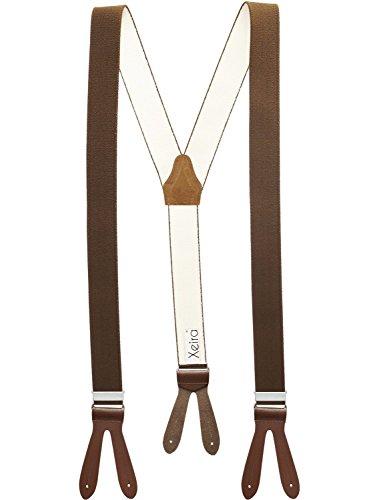 Xeira Hosenträger Braun mit Braunen Lederriemen zum Knöpfen für Herren und Damen Normale Länge 110