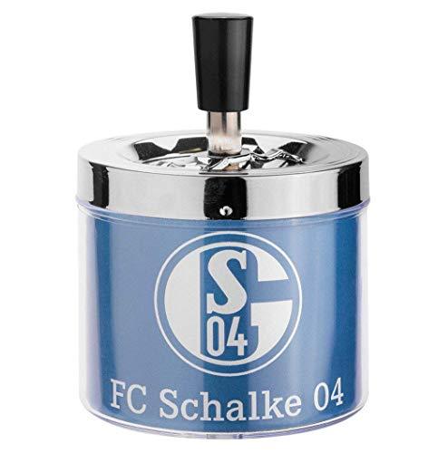 FC Schalke 04 17291 Schleuderaschenbecher - Druck Drehaschenbecher, Chrom, Blau, 10 x 10 x 10 cm
