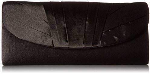 Jessica McClintock Angel Womens Satin Tuxedo Flap Evening Clutch Bag With Shoulder Chain Included, Black
