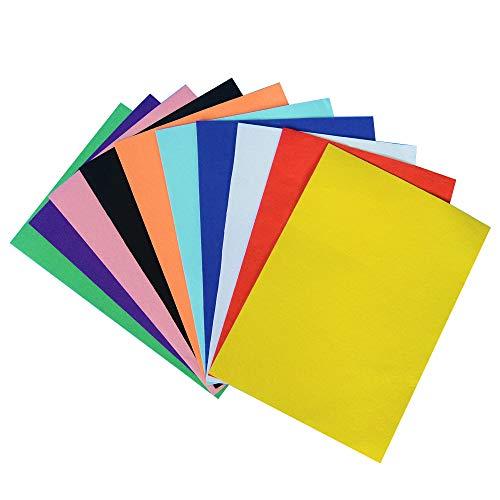 OnePine 10 Piezas 10 Colores 21x30 cm Adhesivo Tejido de Fieltro Volver Hojas Adhesivas Autoadhesivas, duraderas y Resistentes al Agua para Hacer Arte de Bricolaje, Trajes caseros
