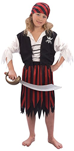 Bristol Novelty- CC626 Costume de Pirate pour Fille, Taille, Multicolore, Petit