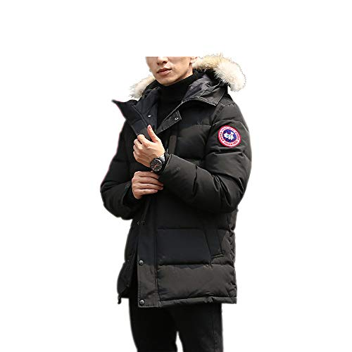 Men's Winter Coat Water-Repellent Windproof Fur Hooded Thicken Long Parka Puffer Jacket (Black, L)