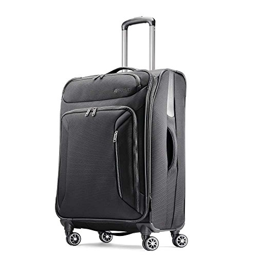 American Tourister Zoom Softside Luggage with Spinner Wheels, Teal Blue, Checked-Medium 25-Inch
