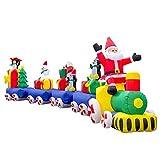 Pridea Weihnachtszug Eisenbahn 600 cm Weihnachtsdeko XXXL Aufblasbarer Weihnachtsmann Schneemann Weihnachtshüte Zuckerstange Wasserfest Weihnachtsdekoration mit Gebläse