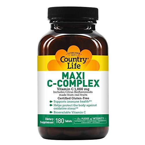 Country Life Maxi C-Complex (Vitamin C 1000 Mg Bioflavonoids) (tr), 180-Count