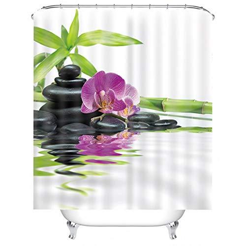 Aartoil Stoff Duschvorhang, Polyester Zen Blume Stein & Bambus Duschvorhang für Badezimmer Fuchsie Grün 72x80 Zoll / 180 x 200 cm DuschvorhangAnti-Schimmel, Hochwertiger