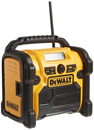 DEWALT 20V MAX/18V/12V Jobsite Radio, Compact (DCR018),Yellow & Black,10.10in. x 10.00in. x 7.30in.