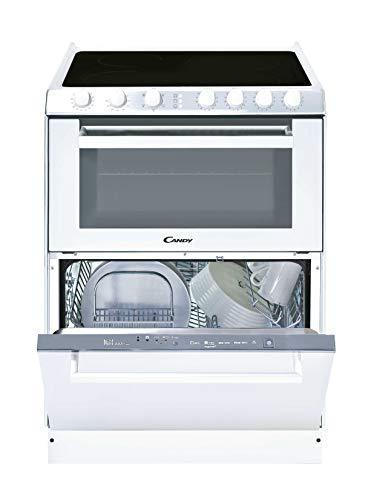 Candy TRIO 9503/1 W/U – Glaskeramik, Geschirrspüler und Ofen in 60 cm, freistehend, mechanische Bedienungen, elektrischer Multifunktionsofen 41 l, Spülmaschine 6 Personen, weiß