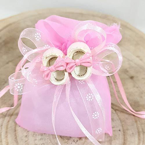 20 bolsitas de regalo para bautizo de niña con zapatos sobre lazo (20 bolsas para niña)