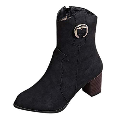 TMOTYE Damen Stiefeletten 2019 Elegante Frauen Damenschuhe Fashion Bare Boots Dicker Absatz Pumps Fashion Boots Spitzschuhe AnkleBoot Stiefel Halbstiefel
