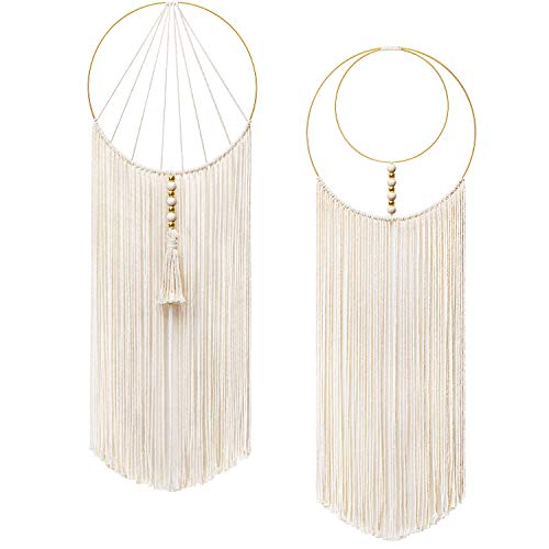 "Mkono 2 Pcs Macrame Wall Hanging Woven Wall Decor Art Boho Chic Bohemian Home Decorations for Apartment Bedroom Living Room Dorm Nursery Room, 12"" W x 36"" L"