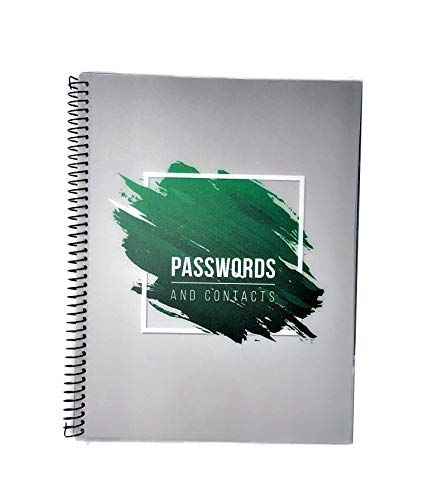 """Password Book Keeper Green, Alphabetical Tabs, Spiral Bound, Removable Sheets, Journal Organizer Includes Website, Address, Username, Password - 10"""" x 7.6"""" by Re-Focus The Creative Office"""