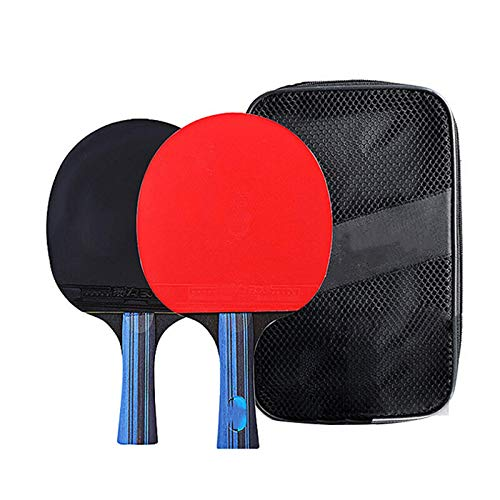 Raqueta de tenis de mesa, 2 unidades, mango largo/corto, de 7 capas, de madera pura, profesional, con bolsa de almacenamiento, ping pong (tamaño: B; color: negro + rojo)