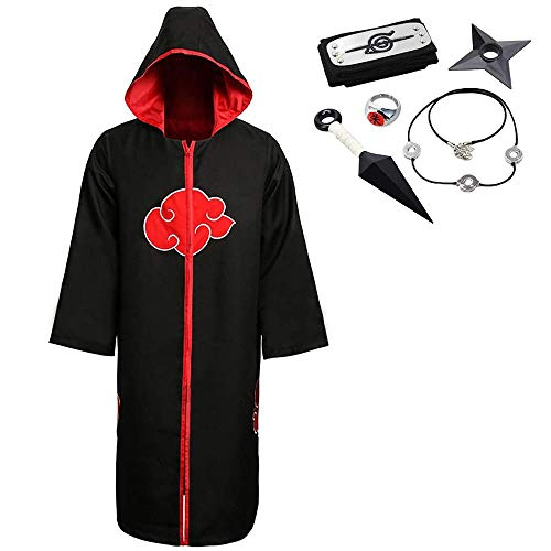 OIUC Akatsuki Organization Miembros Cosplay Capa de Halloween Cosplay Disfraz Uniforme Ninja Robe con diadema-XL