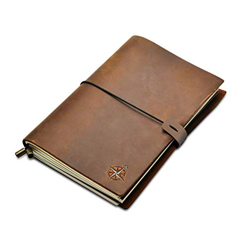 A5 Leather Notebook - Wanderings A5 Refillable Travel Journal, Hand-Crafted Genuine Leather - Perfect for Writing, Poets, Travelers, as a Diary - Blank Inserts - 22 x 15cm, 8.5x6' (A5)