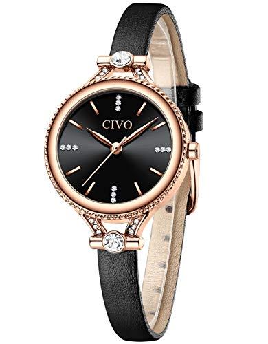 CIVO Relojes Mujer Relojes Delgados Ultra Minimalistas para Mujer Relojes de Pulsera de Cuero a Prueba de Agua Relojes para Mujer Vestido Elegante Relojes de Pulsera Analógicos para Mujer