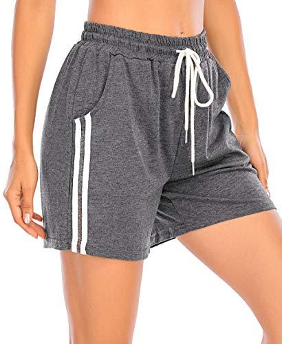 Pantalones Cortos Deportivos para Mujer Entrenamiento Yoga Verano para Hacer Ejercicio Trotar Gimnasio Pijamas Interior Casual Suelto Elástico con Banda Gris Oscuro M