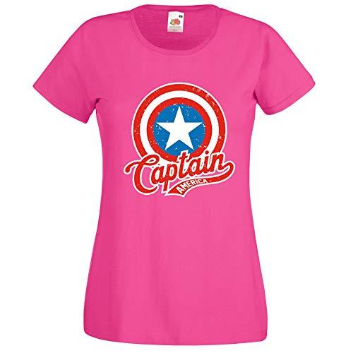 Donna T-Shirt Maglietta Motivo America Captain - Fucsia XXL