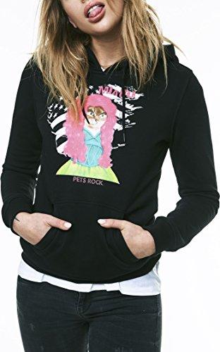 MERCHCODE Ladies Petsrock Pink Cat Hoody Sweatshirt Femme, Black, M