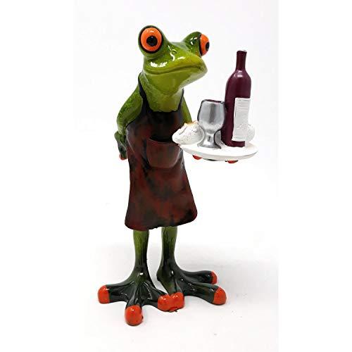 formano Dekofigur Frosch als Kellner mit Tablett H. 15,5cm hellgrün Froschhausen