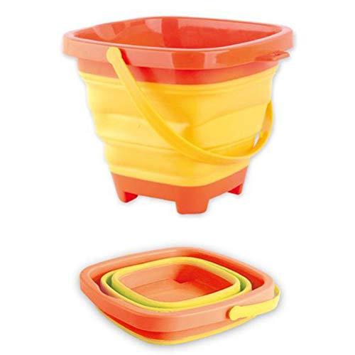 Yooyg Cubo de playa plegable multifuncional, cubo plegable de silicona para niños, cubo de arena de plástico expandible