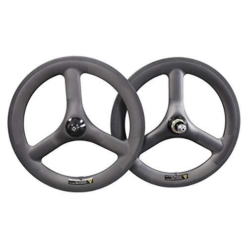 Great Deal! 16 inch Carbon Wheels 40mm Depth Tubeless Three Spoke Wheelset Folding Bike 74/112mm Rim...