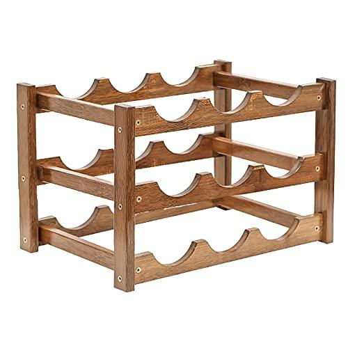 Lrxinki Botellero de bambú apilable, 4 niveles, estilo clásico, perfecto para bar, bodega, sótano, armario, despensa (B)