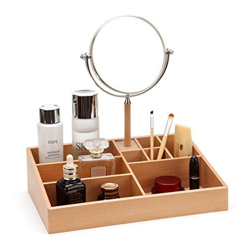 Organizador de maquillaje de madera maciza con encimera de espejo, productos para el cuidado de la piel, organizador de barra de labios, caja organizadora de cosméticos con compartimientos