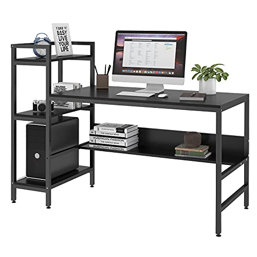 Dripex Computer Desk with 4 Tier Storage Shelves - 41.7'' Student Study Table with Bookshelf Modern Wood Desk with Steel Frame for Small Spaces Home Office Workstation (Black)