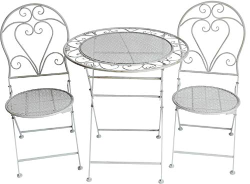 GlamHaus Garden Bistro Patio Foldable 3 Piece Metal Set Garden Folding Balcony Furniture Table and Two Chairs Antique Grey Beautiful Handmade Heart Detail Monaco