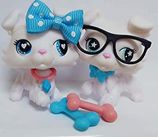 lpsloverqa Custom Made OOAK LPS Collie White Paw Up Blue Star Eyes and Heart Eyes Dog Puppy with Accessories Lot Collection Figure Boys Girls Kids Gift Set